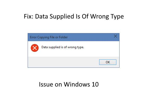 Data supplied is of wrong type
