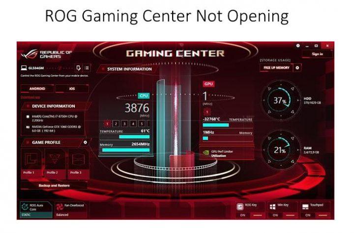 ROG Gaming Center Not Opening